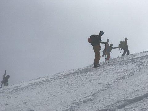 snowy mountain hike